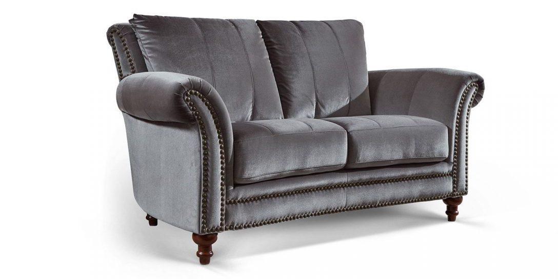 Large Size of Barock Sofa Couch 2 Sitzer In Samt Mit Dekorativen Nieten Und Schlaffunktion Federkern Relaxfunktion Hussen Big Günstig Heimkino Modulares Günstige Grau Sofa Barock Sofa