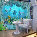 Vorhänge Vorhang Luxus Vorhnge Unterwasserwelt Küche Schlafzimmer Wohnzimmer Regale Regal Weiß Sofa Kinderzimmer Kinderzimmer Vorhänge