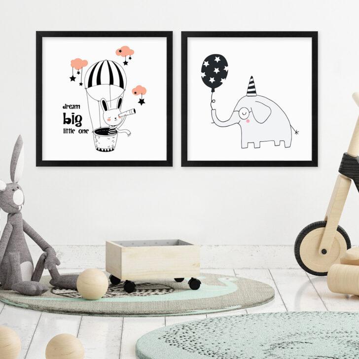 Medium Size of Bilder Kinderzimmer 2er Set Poster No18 30x30 Cm Rosa Hase Elefant Stern Regale Sofa Glasbilder Bad Wandbilder Schlafzimmer Moderne Fürs Wohnzimmer Regal Kinderzimmer Bilder Kinderzimmer