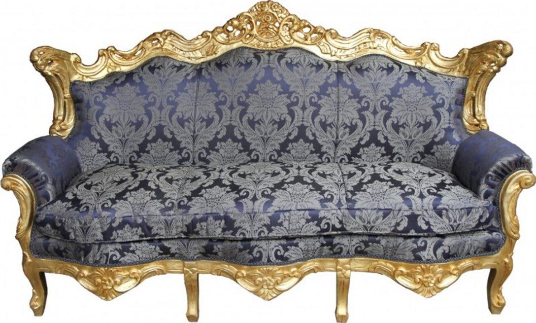 Large Size of Casa Padrino Barock Sofa Master Royal Blau Muster Gold Mit Abnehmbaren Bezug Schlafsofa Liegefläche 180x200 München Großes L Form Büffelleder Sofa Barock Sofa