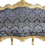 Casa Padrino Barock Sofa Master Royal Blau Muster Gold Mit Abnehmbaren Bezug Schlafsofa Liegefläche 180x200 München Großes L Form Büffelleder Sofa Barock Sofa