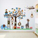Wandaufkleber Kinderzimmer Kinderzimmer Wandtattoo Wandaufkleber Kinderzimmer Tiere Wandsticker Affe Regal Weiß Regale Sofa