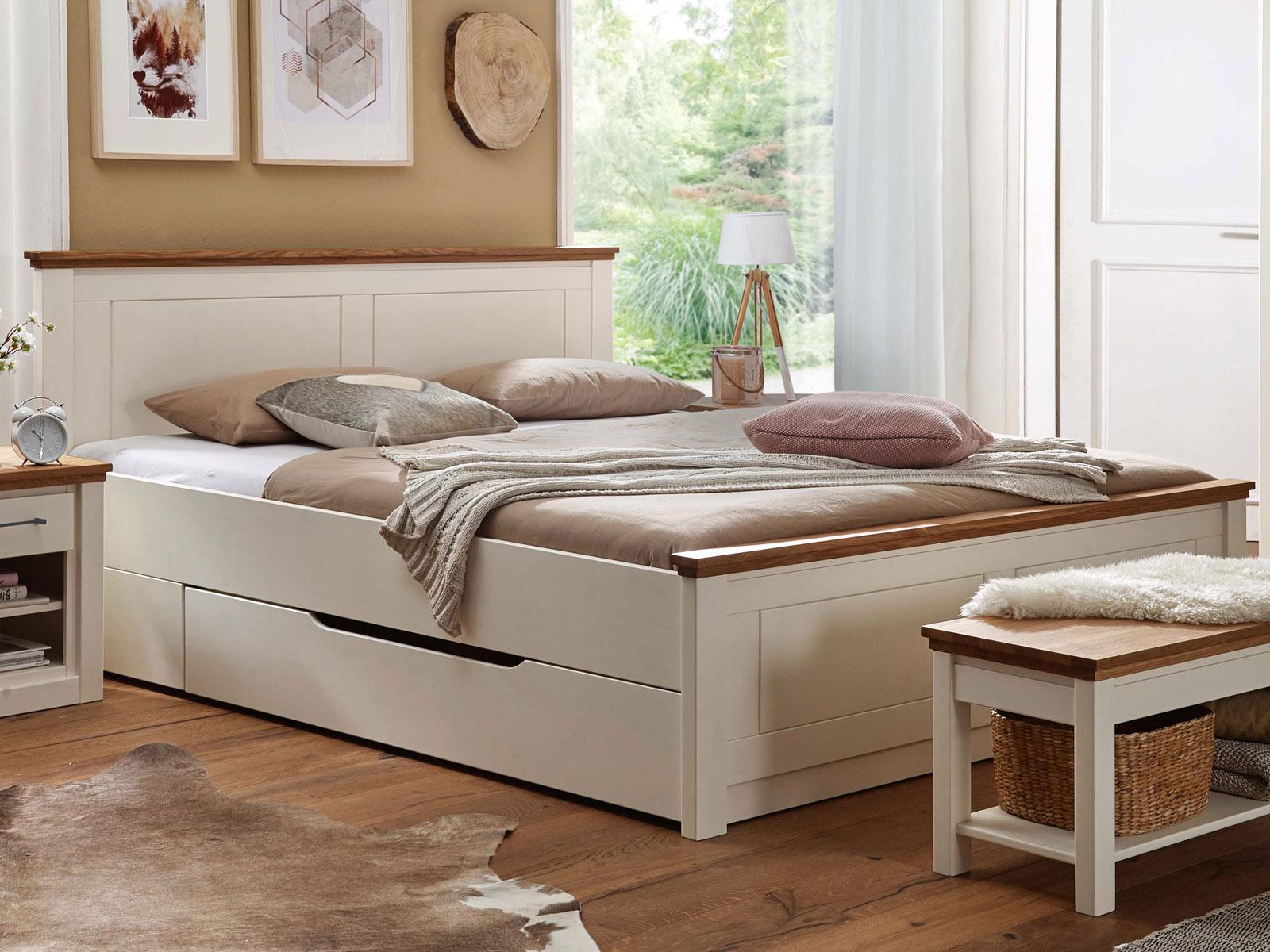 Full Size of Bett Eiche Massiv 180x200 Doppelbett Provence 180 200 Cm Pinie Nordica Creme Und Dormiente Baza Kleinkind Regal Modernes 90x200 Komplett Mit Lattenrost Bett Bett Eiche Massiv 180x200