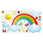 Wandaufkleber Kinderzimmer Kinderzimmer Wandaufkleber Kinderzimmer 006 Wandtattoo Regenbogen Sonne Wolken Regale Regal Sofa Weiß