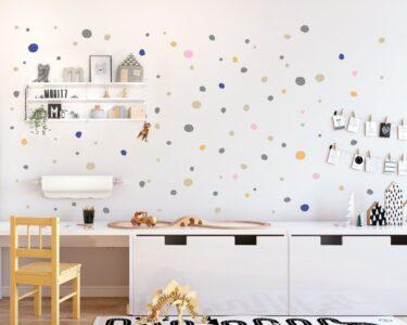 Wandaufkleber Kinderzimmer Kinderzimmer Wandaufkleber Kinderzimmer Hand Drawn Polka Dots Wall Decals Multicolored Regal Sofa Weiß Regale