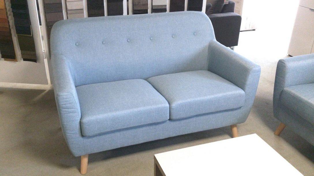 Large Size of Sofa 2 Sitzer Linon Retro Couch In Leinen Hellblau Und Buche Home Affaire Günstiges Baxter Esstisch Boxspring Cassina München Höffner Big Leder Mit Sofa 2er Sofa