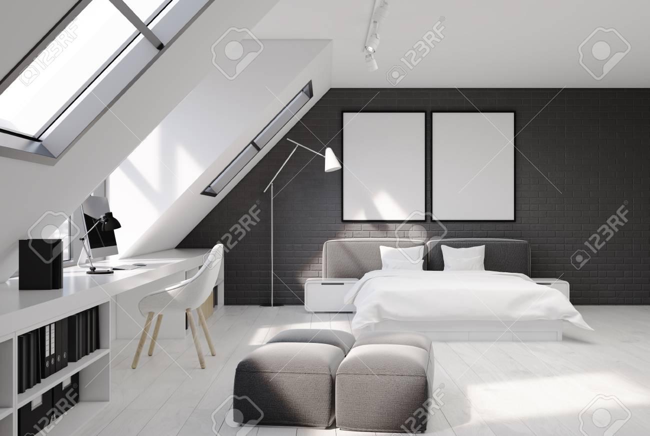 Full Size of Graues Bett Wandfarbe Bettlaken Samtsofa Waschen Ikea Kombinieren Dunkel 140x200 180x200 Schlafzimmerinnenraum Mit Weien Und Grauen Backsteinmauern Bett Graues Bett