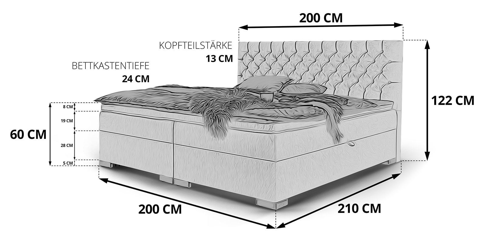 Full Size of Boxspringbett Mit Bettkasten Stauraum Bett London Skizze 200x200 120x200 Badewanne Bette 90x190 190x90 120 Cm Breit Aufbewahrung Betten Bei Ikea Weiß Bett Stauraum Bett 200x200