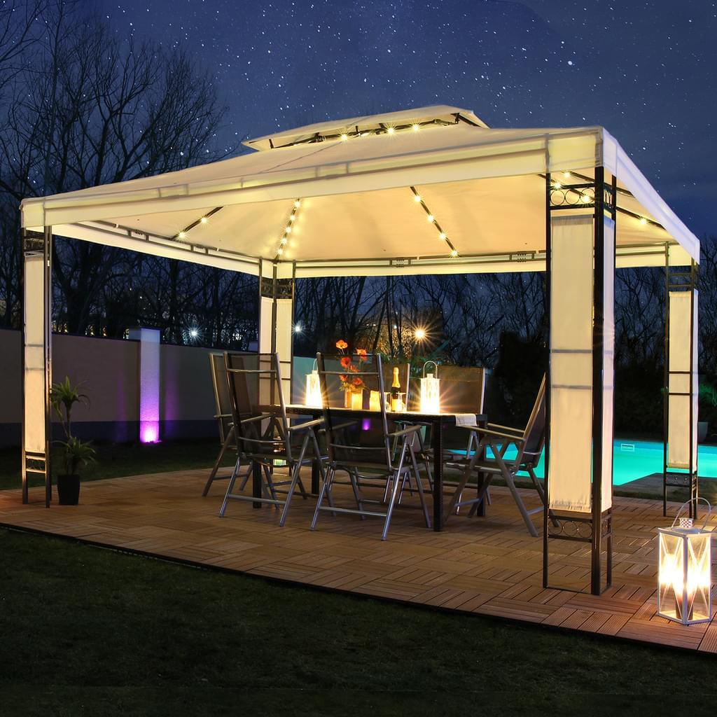 Full Size of Pavillon Garten Led Milano 3x4m Pavillion Solar Real Spielhäuser Sauna Lounge Sessel Rattan Sofa Relaxsessel Aldi Spot Skulpturen Beistelltisch Mini Pool Garten Pavillon Garten
