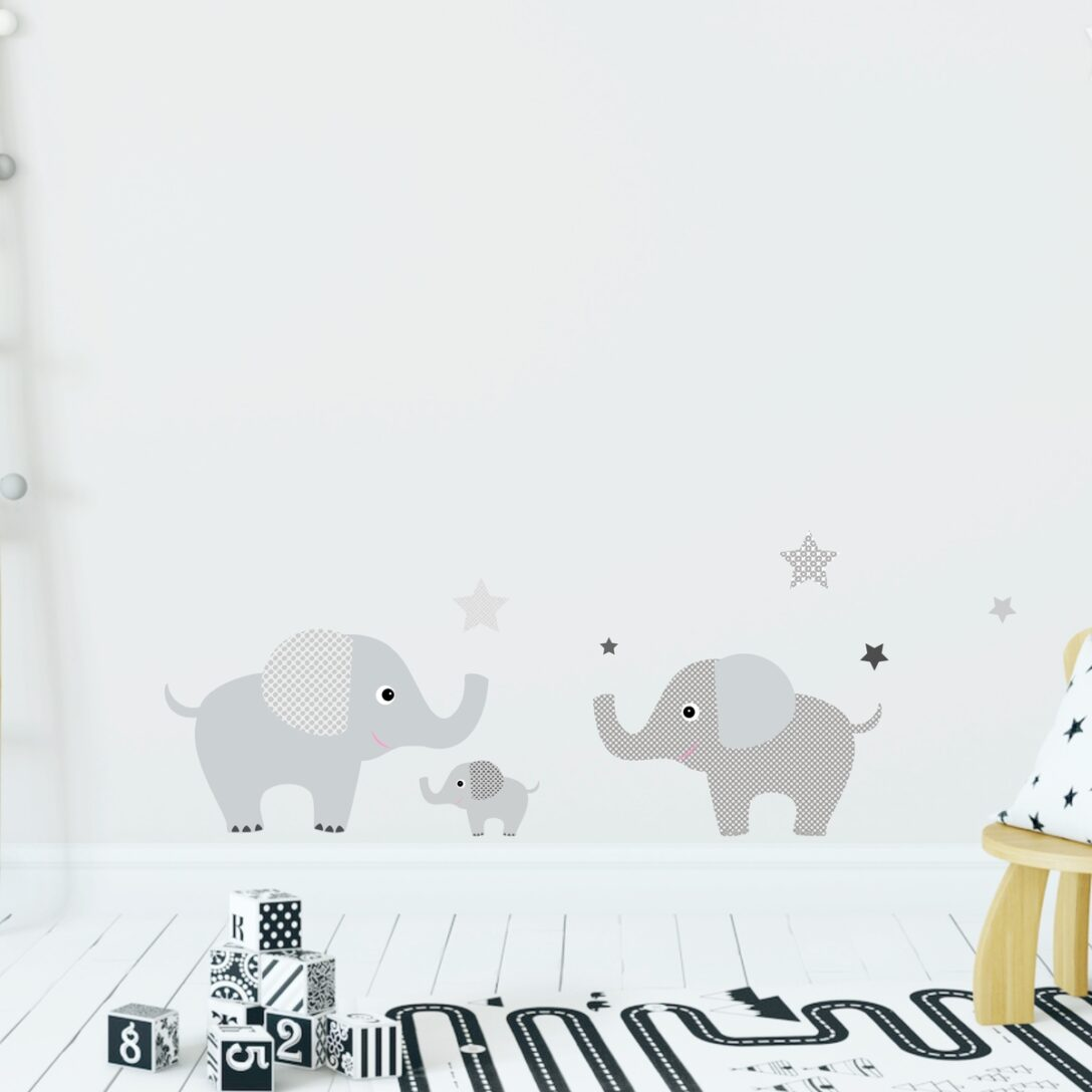 Large Size of Wandsticker Elefantenfamilie Grau Tapetensticker Regal Kinderzimmer Weiß Regale Sofa Kinderzimmer Wandaufkleber Kinderzimmer