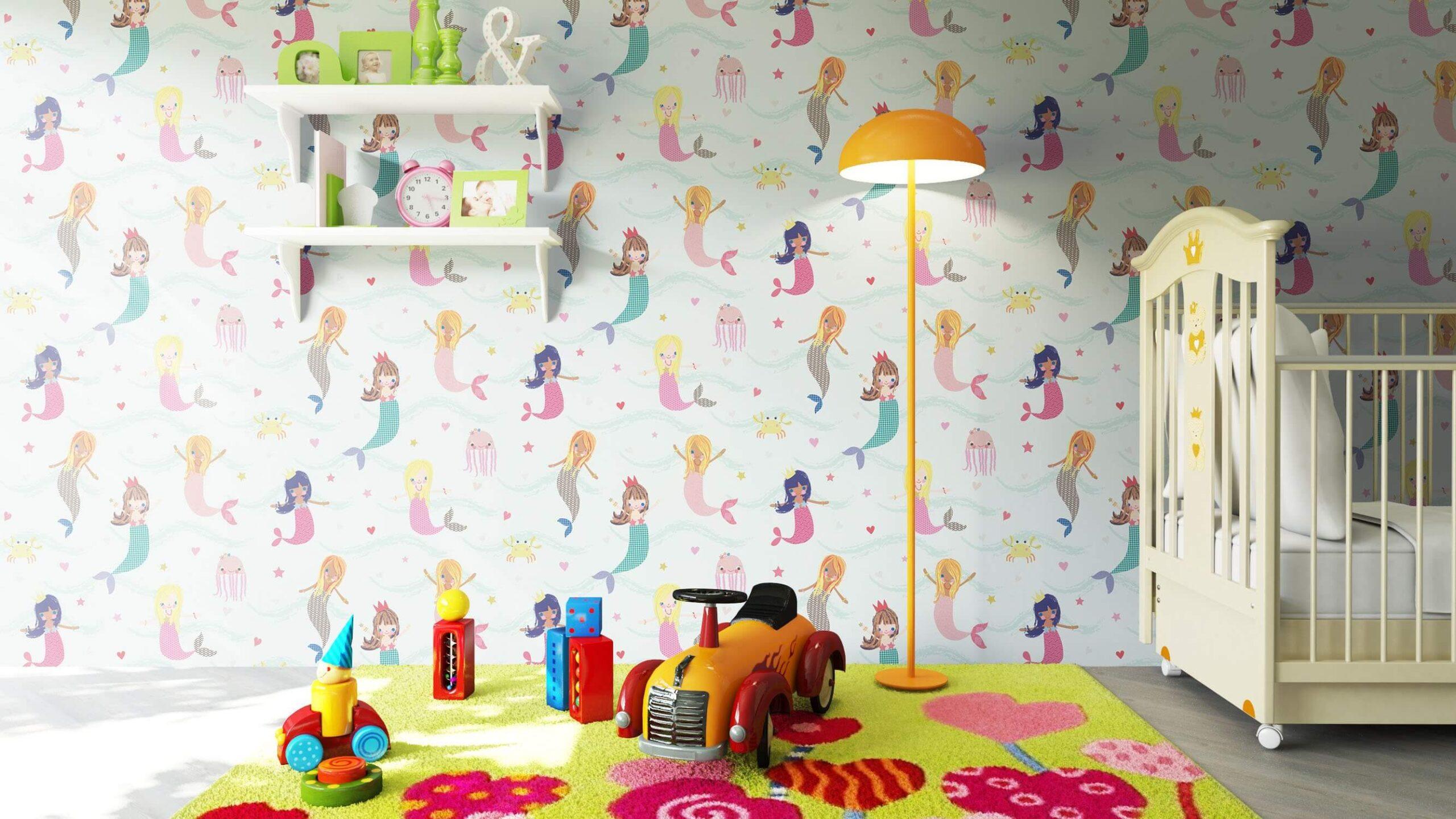 Full Size of Tapeten Kinderzimmer Papiertapete Blau Meerjungfrauen Meer Kinder Fototapeten Wohnzimmer Ideen Für Küche Sofa Regal Schlafzimmer Die Regale Weiß Kinderzimmer Tapeten Kinderzimmer