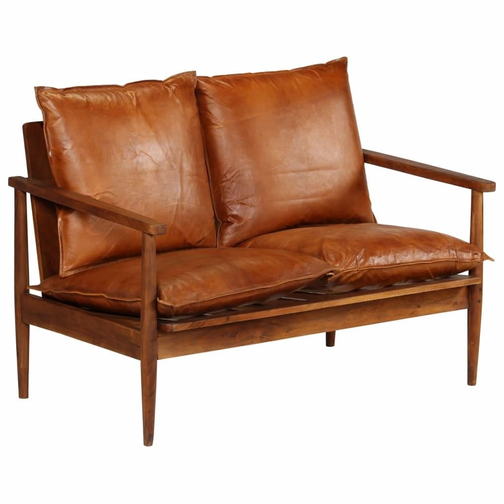 Full Size of Vidaxl 2 Sitzer Sofa Leder Mit Akazienholz Braun Real Garnitur Teilig Big Kolonialstil Englisch Grau Stoff Beziehen Günstig Elektrisch Poco Sofa Sofa Leder