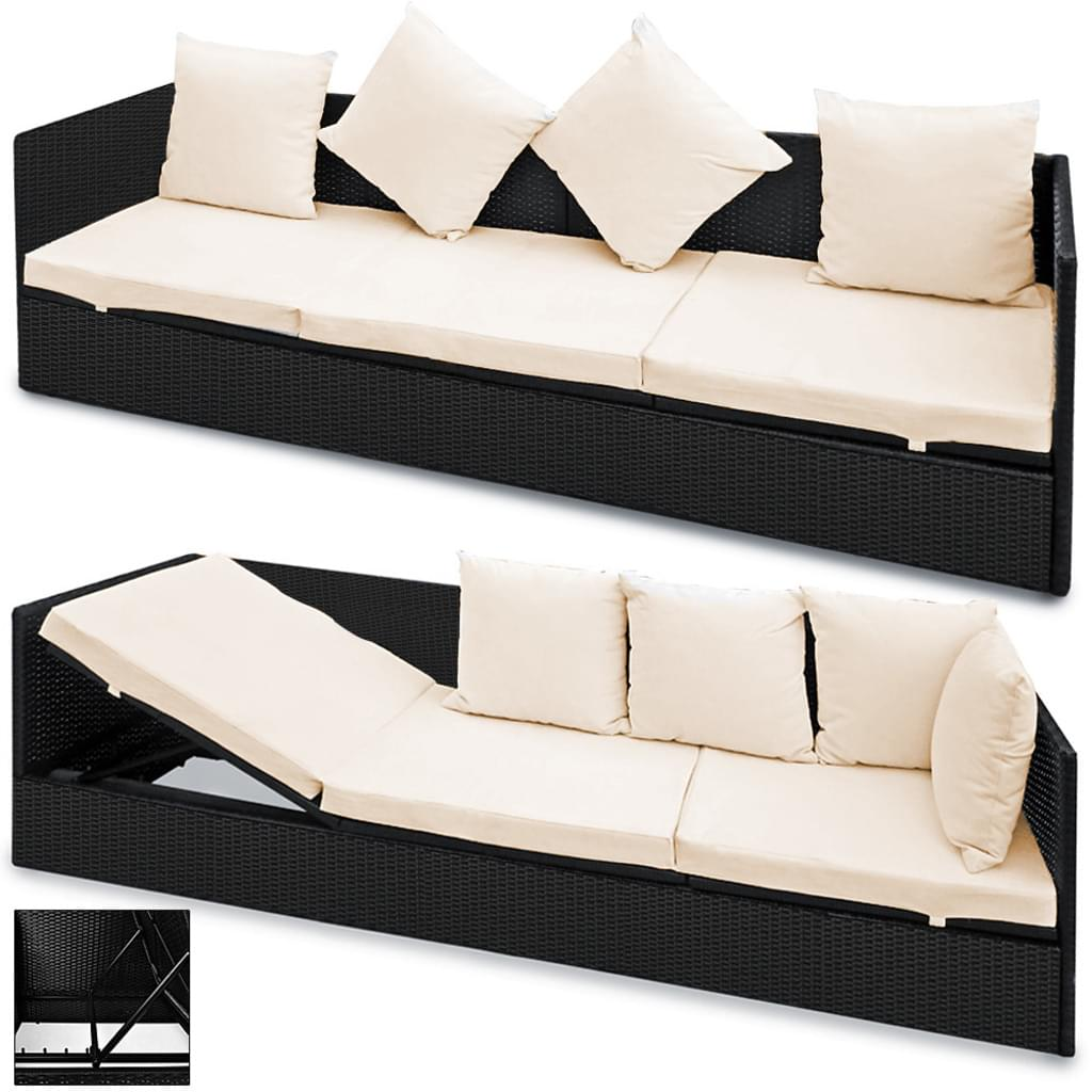 Large Size of Lounge Sofa Polyrattan Outdoor Grau Couch Ausziehbar Casaria Poly Rattan 2in1 Gartenliege 5 Fach Real U Form Garnitur 2 Teilig Für Esstisch Billig 3er Sofa Polyrattan Sofa