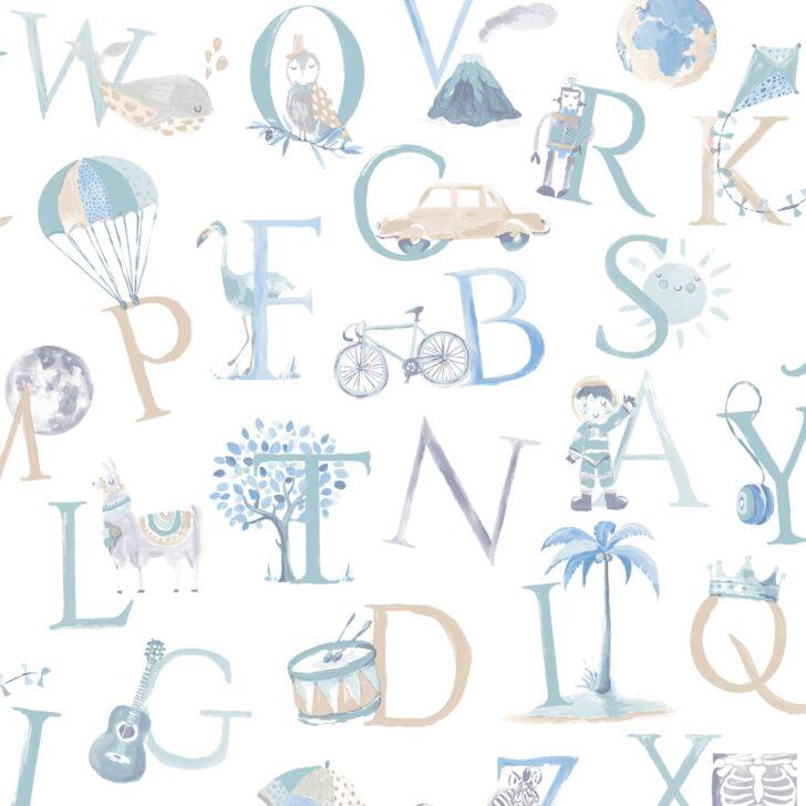 Medium Size of Tapeten Kinderzimmer Grandeco Vliestapete Buchstaben Grn Blau Beige Bei Fototapeten Wohnzimmer Sofa Regal Weiß Für Die Küche Regale Ideen Schlafzimmer Kinderzimmer Tapeten Kinderzimmer