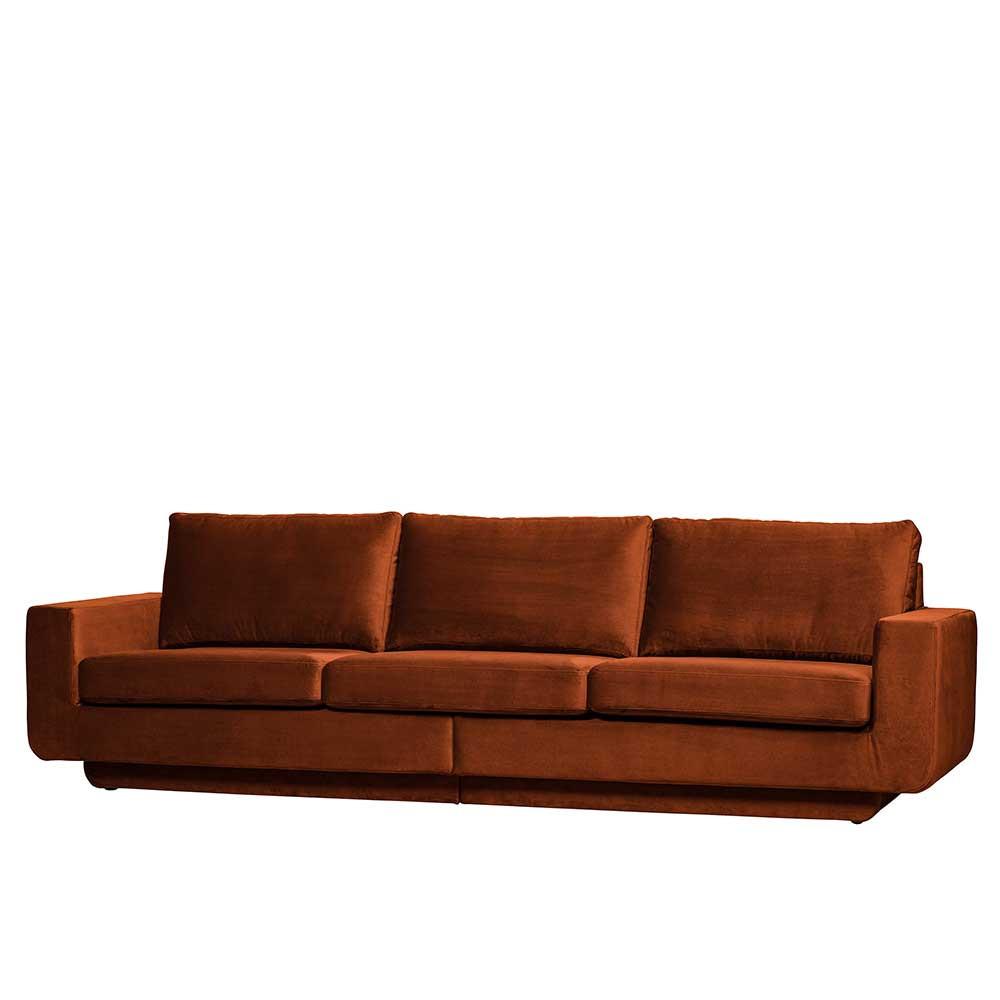 Full Size of 3er Sofa Niklai In Rostfarben Samt Im Retro Style Pharao24de Relaxfunktion Mit Bettkasten Tom Tailor Grau Leder überzug Halbrundes Stoff 2er Impressionen Sofa 3er Sofa