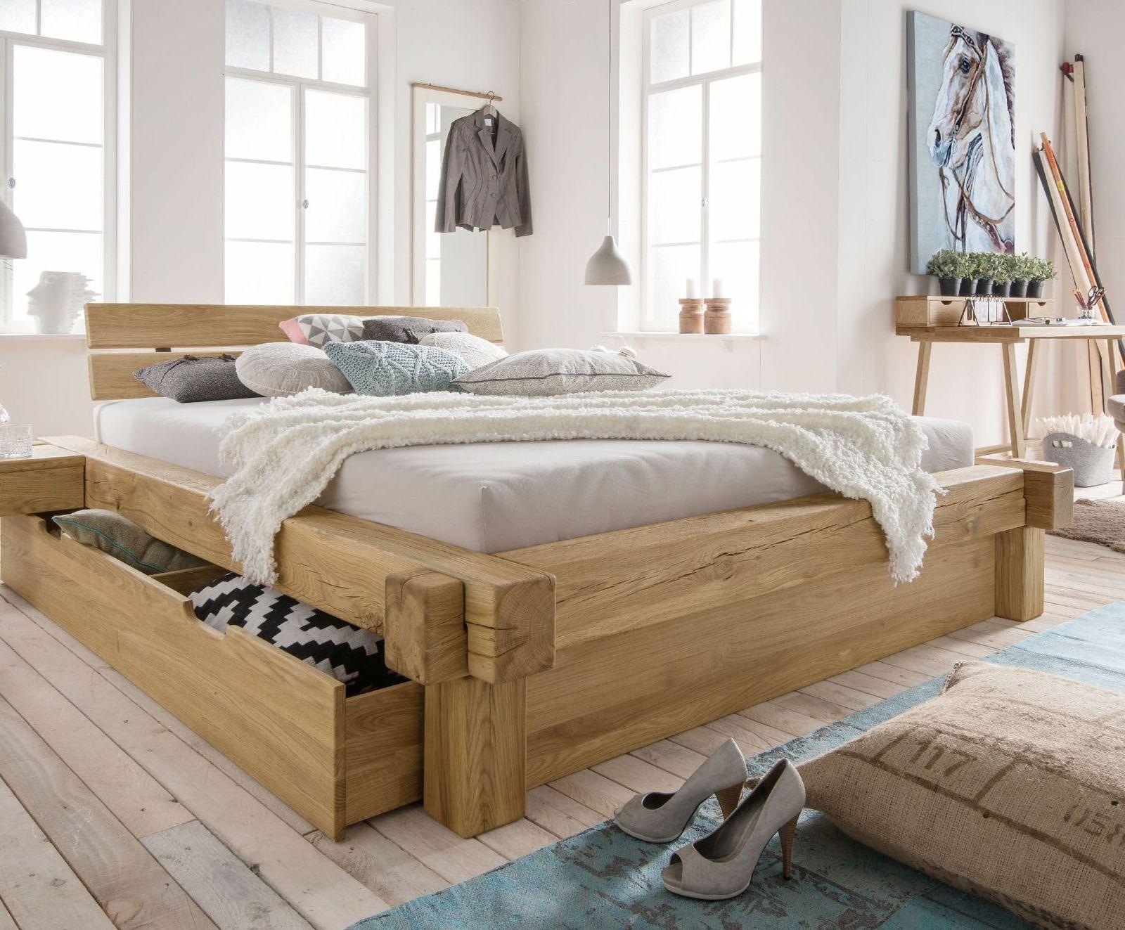 Full Size of Designer Balkenbett Mit Schubkasten Echtholz Wildeiche Doba Bett Www.betten.de