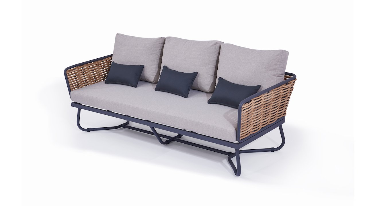 Full Size of Polyrattan Sofa 2 Sitzer Balkon Grau 2 Sitzer Set Lounge Ausziehbar Outdoor Rattan Couch Astra 205 Cm Living Zone Gartenmbel Leder Home Affair Billig Big Sofa Polyrattan Sofa