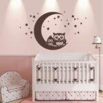 Wandaufkleber Kinderzimmer Kinderzimmer Wandtattoo Wandaufkleber Eulen Mond Sterne Regal Kinderzimmer Weiß Sofa Regale