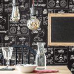 Küche Tapete Wohnzimmer Kchentapete Black And White Vliestapete Cafe Design Kaffee Tasse Küche Betonoptik Schneidemaschine Mintgrün Vorhänge Glasbilder Vorratsdosen Einbauküche