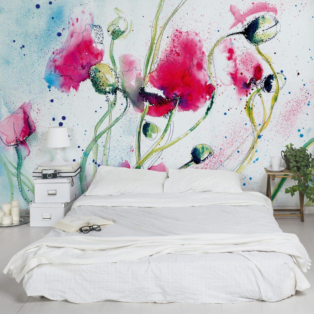 Large Size of Fototapete Blumen Aquarell Schlafzimmer 3d Rosa Vintage Vlies Blumenwiese Dunkel Komar Kaufen Rosen Bunte Painted Poppies Vliestapete Breit Fototapeten Wohnzimmer Fototapete Blumen