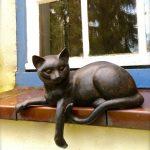 Fensterbank Dekorieren Skulptur Katze Wohnzimmer Fensterbank Dekorieren