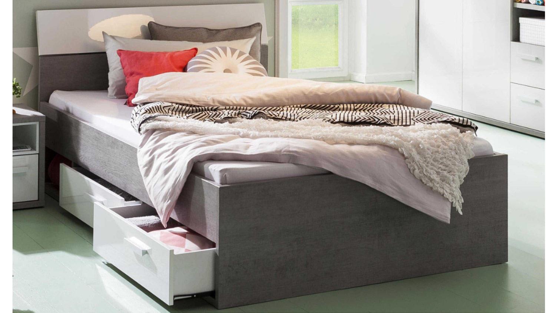 Full Size of Stauraumbett Mipiace Beton Look Hochglanz Wei Bett Weiß 120x200 Betten Mit Matratze Und Lattenrost Bettkasten Wohnzimmer Stauraumbett 120x200