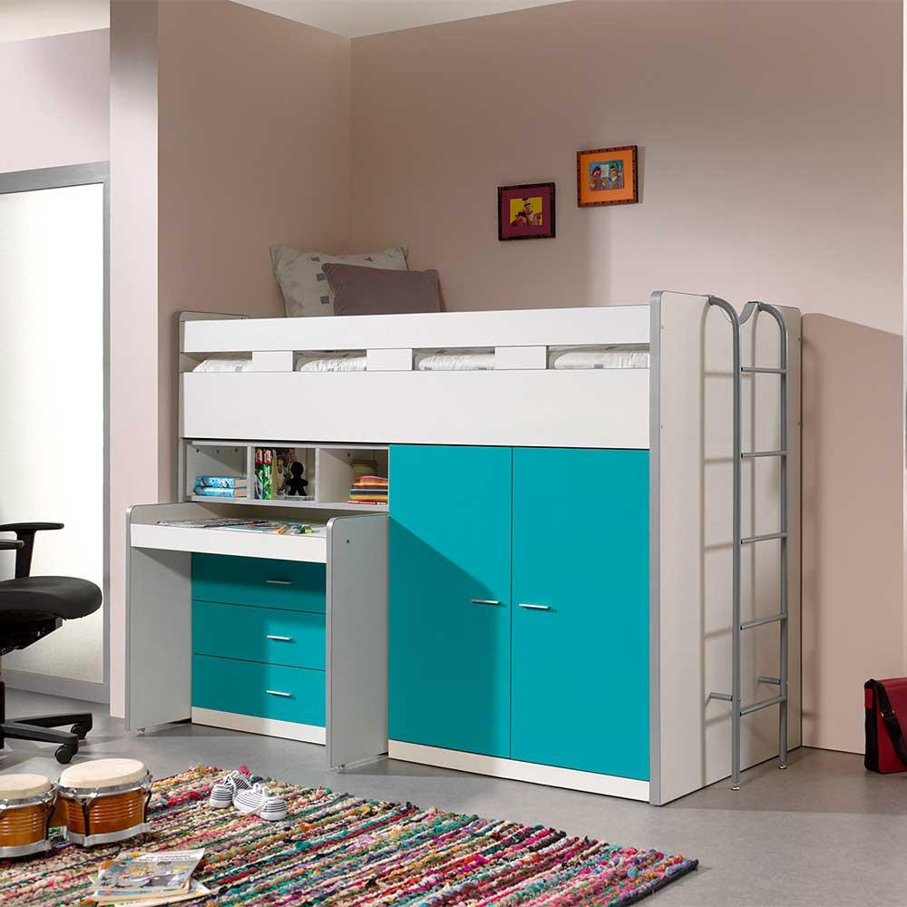 Full Size of Kinderzimmer Hochbett Dany In Trkis Und Wei Mit Schreibtisch Regal Weiß Sofa Regale Kinderzimmer Kinderzimmer Hochbett