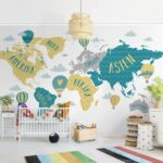 Vliestapete Kinderzimmer Weltkarte Mit Heiluftballon Sofa Regale Fototapeten Wohnzimmer Regal Weiß Kinderzimmer Fototapeten Kinderzimmer