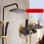 Bidet Dusche Gold Mit Duschset Golden Schwarz Luxus Bodenebene Nischentür Glaswand Glasabtrennung Bodengleiche Einbauen Raindance Glastrennwand Dusche Bidet Dusche