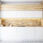 Hexagon Muster Kchenwand Mit Weien Countertops Wohnzimmer Küchenwand