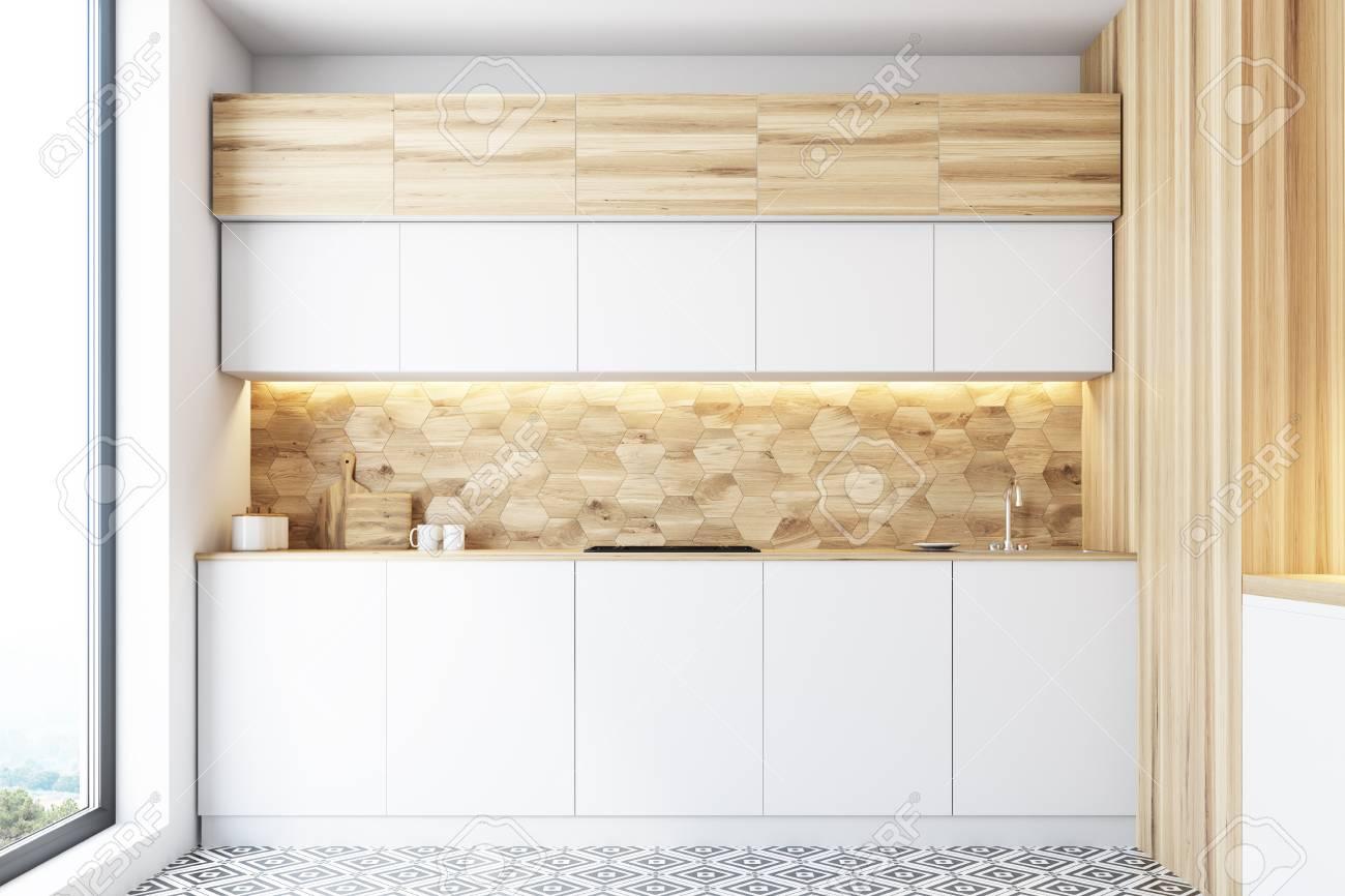 Full Size of Hexagon Muster Kchenwand Mit Weien Countertops Wohnzimmer Küchenwand