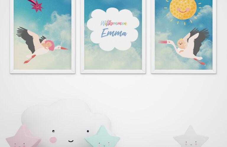 Kinderzimmer Wanddeko Kinderzimmer Kinderzimmer Wanddeko 3er Set Babyzimmer Strche Poster Sofa Regal Regale Küche Weiß