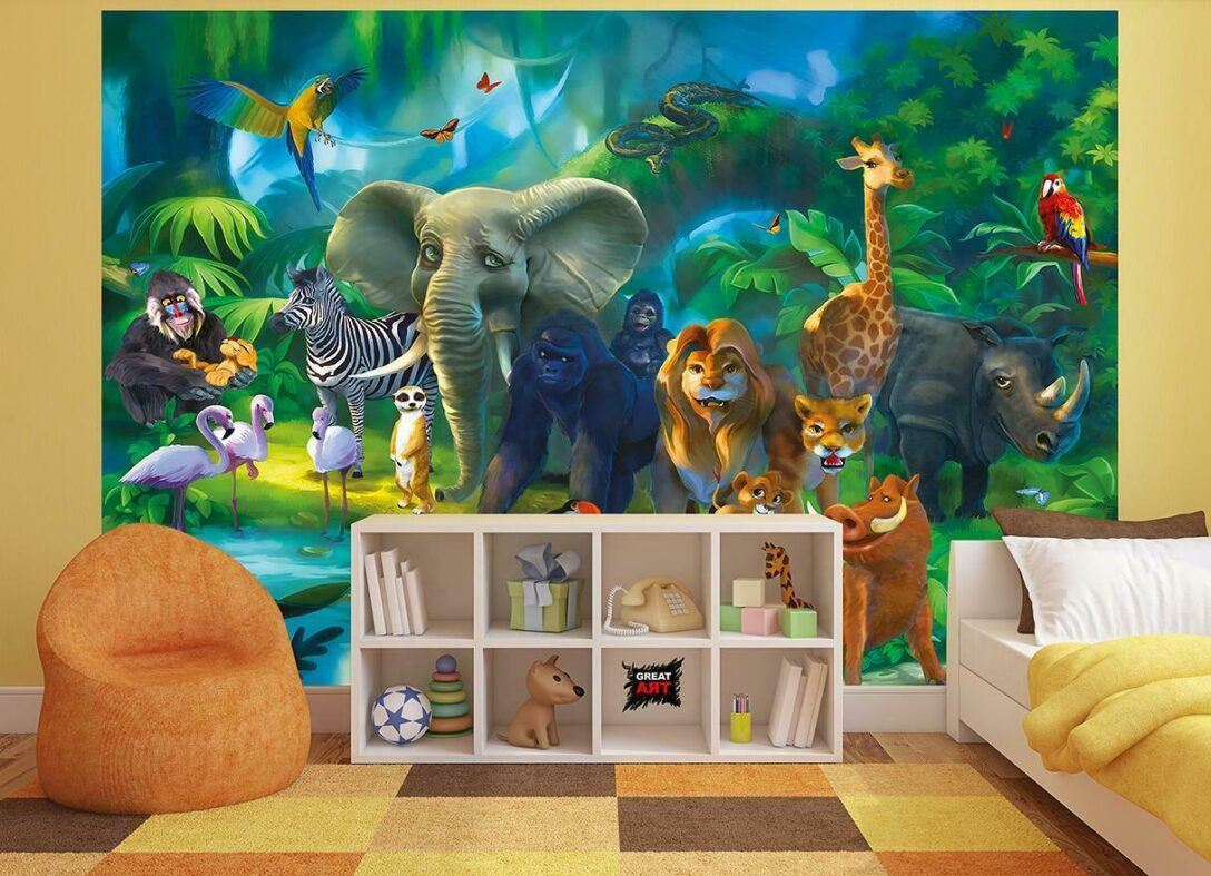 Large Size of Wandbild Kinderzimmer Fototapete Tapete Dschungel Xxl Wald Wohnzimmer Regal Weiß Wandbilder Schlafzimmer Regale Sofa Kinderzimmer Wandbild Kinderzimmer