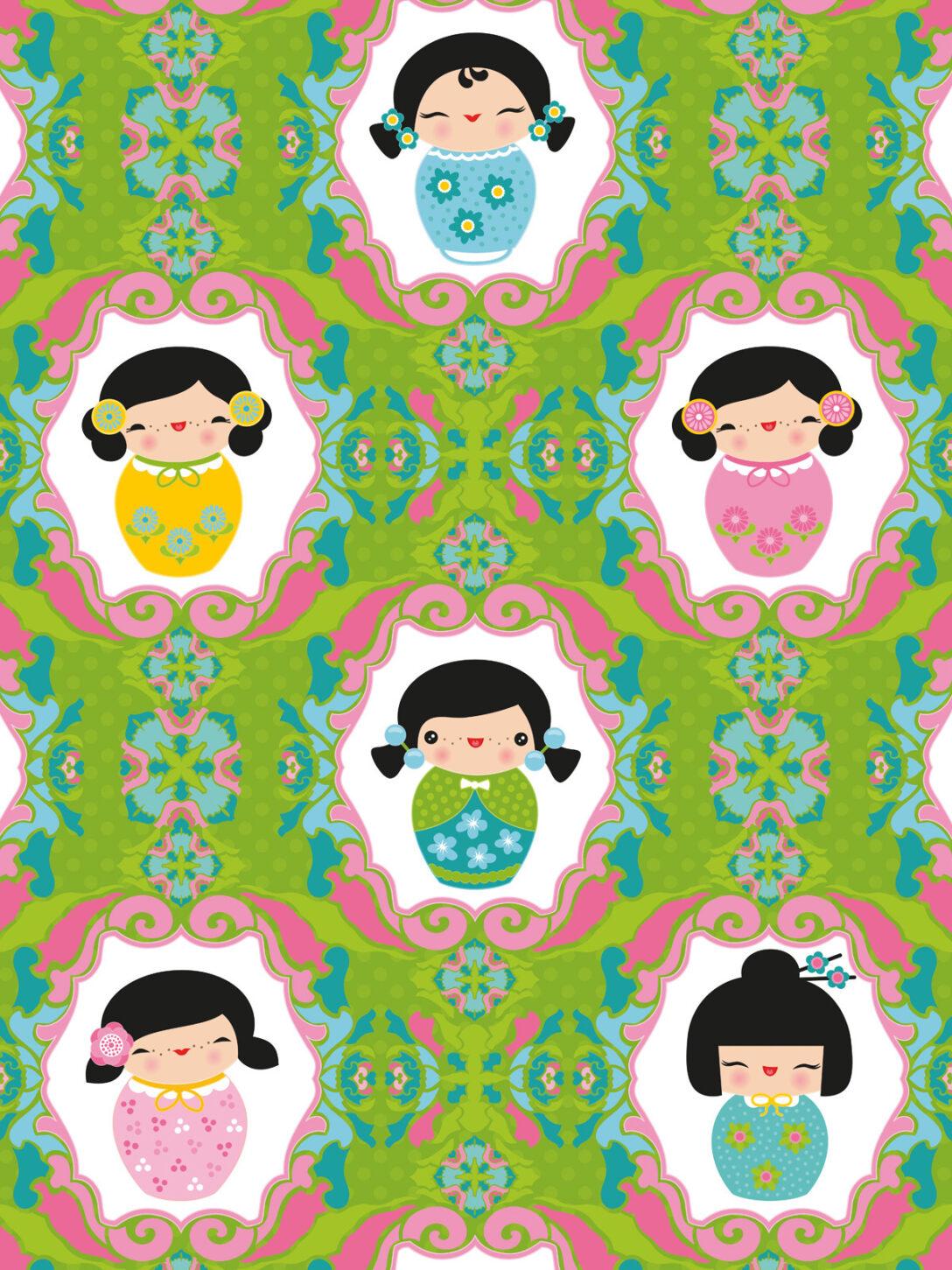Large Size of Wandbild Kinderzimmer Tapeten Kokeshi Dolls Grn Miyo Mori Regal Wohnzimmer Regale Sofa Weiß Wandbilder Schlafzimmer Kinderzimmer Wandbild Kinderzimmer