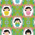 Wandbild Kinderzimmer Kinderzimmer Wandbild Kinderzimmer Tapeten Kokeshi Dolls Grn Miyo Mori Regal Wohnzimmer Regale Sofa Weiß Wandbilder Schlafzimmer