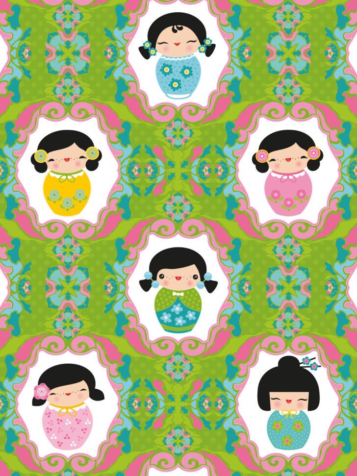 Medium Size of Wandbild Kinderzimmer Tapeten Kokeshi Dolls Grn Miyo Mori Regal Wohnzimmer Regale Sofa Weiß Wandbilder Schlafzimmer Kinderzimmer Wandbild Kinderzimmer