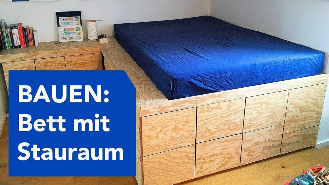 Large Size of Bett Mit Stauraum Ikea Betten Diy Selber Bauen 120x200 Viel 90x200 Podest Youtube Wand Bettkasten 160x200 140x200 Weiß Lattenrost Ausziehbett 1 40x2 00 Wohnzimmer Bett Mit Stauraum Ikea