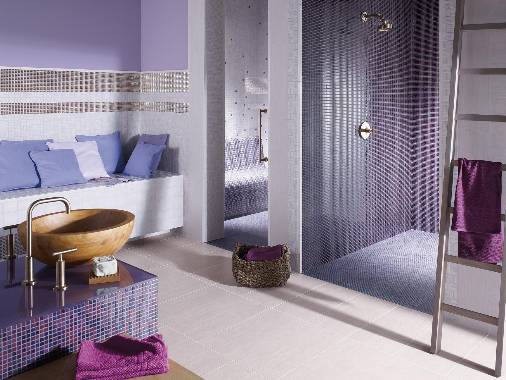 Full Size of Fliesen Für Dusche Badezimmer In Lavendel Und Lila Mosaikflie Nischentür Regal Kleidung Ordner Mischbatterie Insektenschutz Fenster Glaswand Einbauen Dusche Fliesen Für Dusche