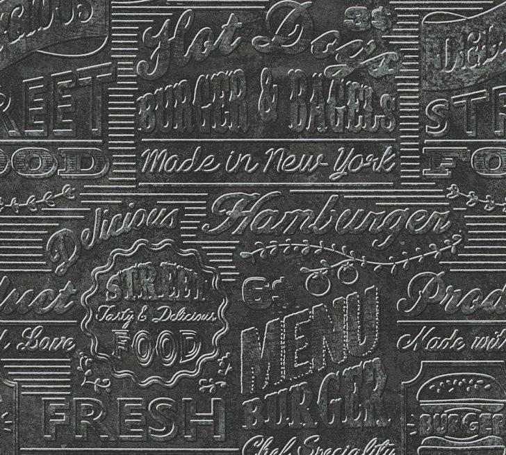 Medium Size of Tapeten Küche Tapete Kche Usa Schwarz Silber As Creation 30664 3 Essplatz Wandverkleidung Einbau Mülleimer Wandtattoos Fototapeten Wohnzimmer Mit Geräten Wohnzimmer Tapeten Küche