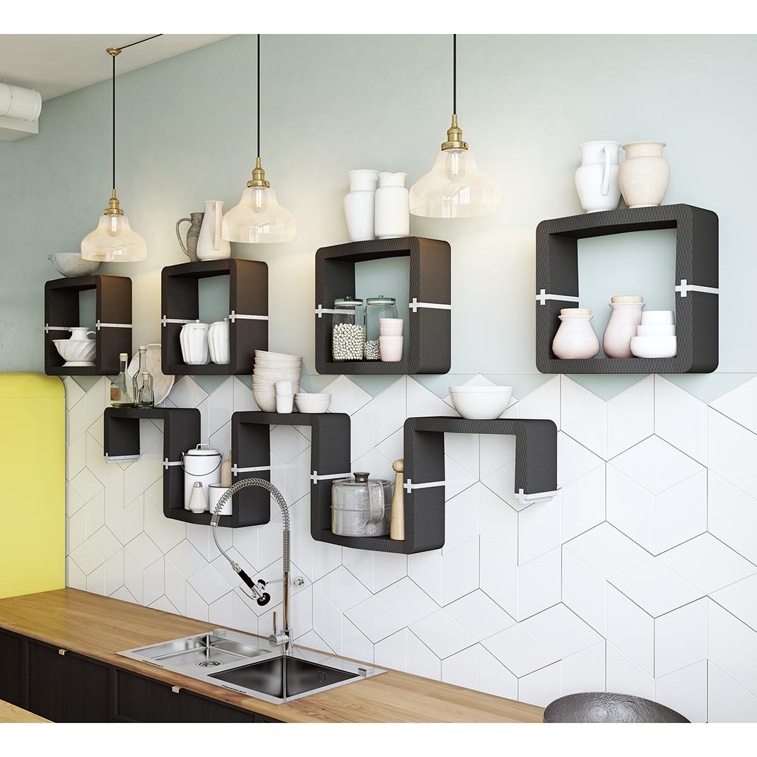 Full Size of Küche Wandregal Hngeregal U Cube In Individuellem Organischem Design Bodenbeläge Wandtattoos Mit Elektrogeräten Günstig Unterschränke Gebrauchte Wohnzimmer Küche Wandregal