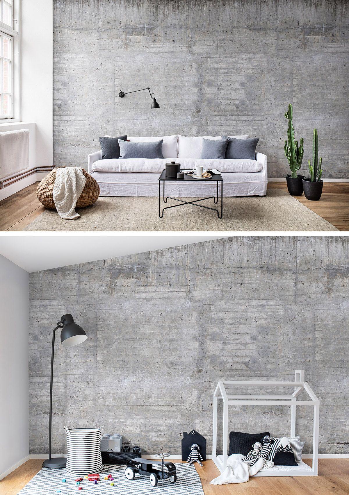 Full Size of Wooden Concrete In 2020 Wandgestaltung Tapete Indirekte Beleuchtung Wohnzimmer Schrankwand Deckenlampe Fototapeten Hängeschrank Vitrine Weiß Led Wohnzimmer Wohnzimmer Tapeten