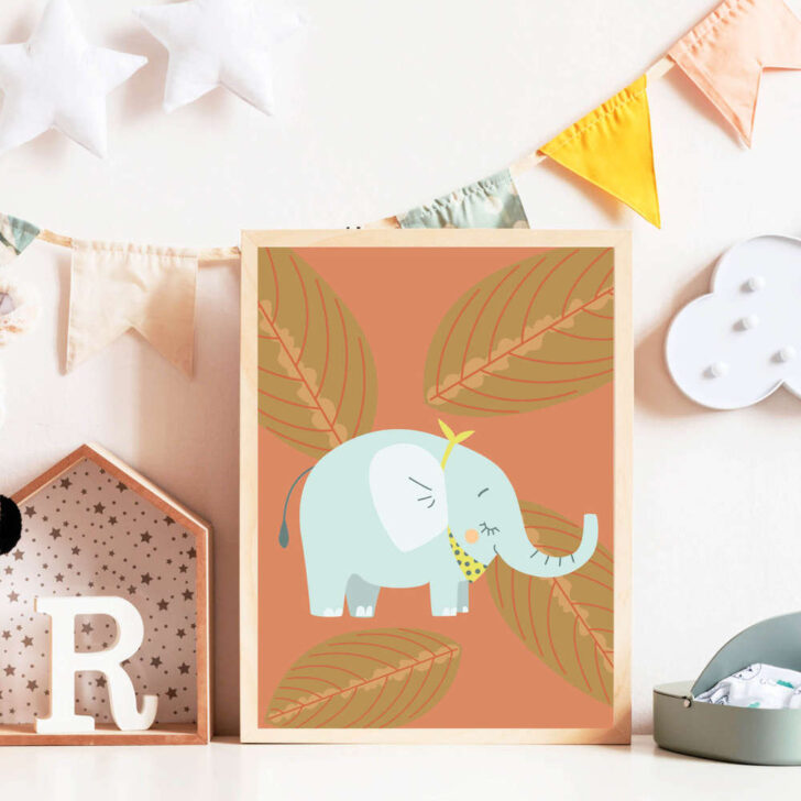 Medium Size of Print Illustration Kinderzimmer Poster Elefant Wanddeko Regal Weiß Regale Küche Sofa Kinderzimmer Kinderzimmer Wanddeko
