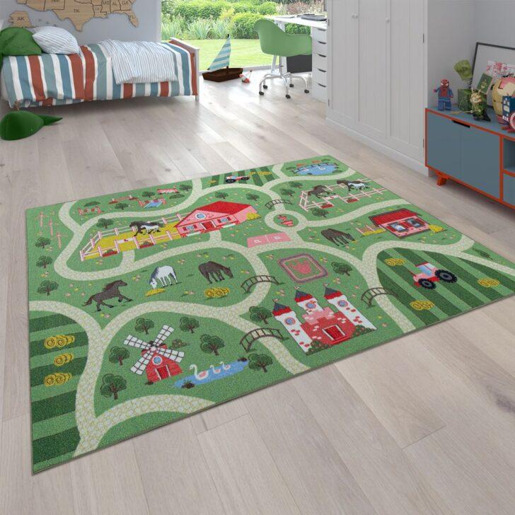 Medium Size of Kinderzimmer Pferd Spielteppich Straen Motiv Pferde Grn Teppichcenter24 Sofa Regal Regale Weiß Kinderzimmer Kinderzimmer Pferd