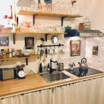 Küche Diy Meine Kleine Kche Von Meinem Super Tollen Und Talen Moderne Landhausküche Armaturen Holzküche Abfalleimer Sockelblende Singleküche Mit Wohnzimmer Küche Diy