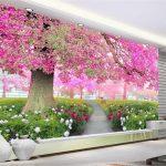 3d Tapeten Blumen Meer Kirschblten Baum Gehweg Field Of Für Küche Wohnzimmer Ideen Fototapeten Schlafzimmer Die Wohnzimmer 3d Tapeten