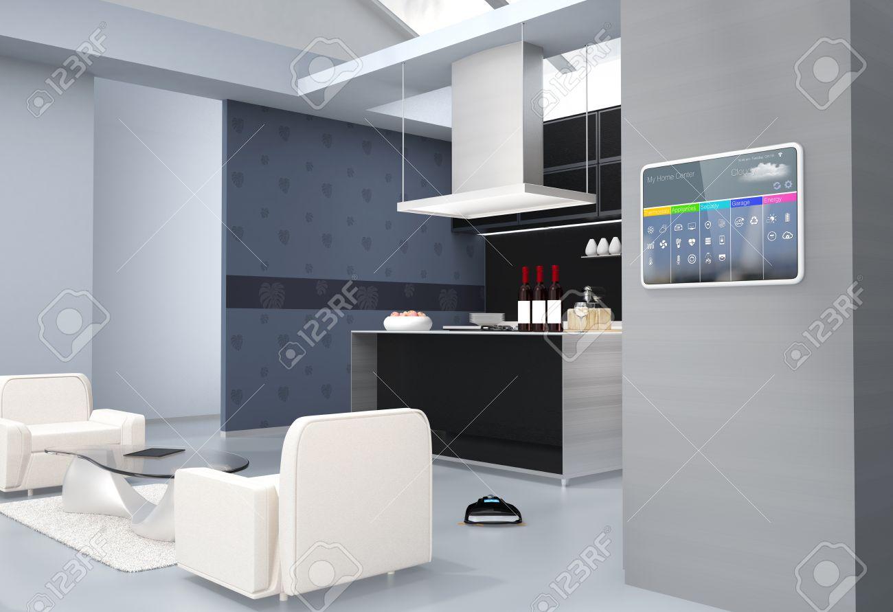 Full Size of Hausautomation Bedienfeld An Kchenwand 3d Bild Wohnzimmer Küchenwand