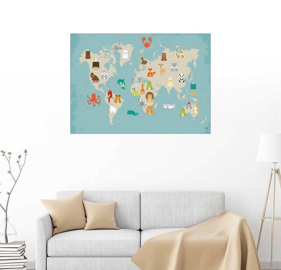 Full Size of Posterlounge Wandbild Pegriffin Weltkarte Mit Tieren Fr Sofa Kinderzimmer Wandbilder Wohnzimmer Schlafzimmer Regal Weiß Regale Kinderzimmer Wandbild Kinderzimmer