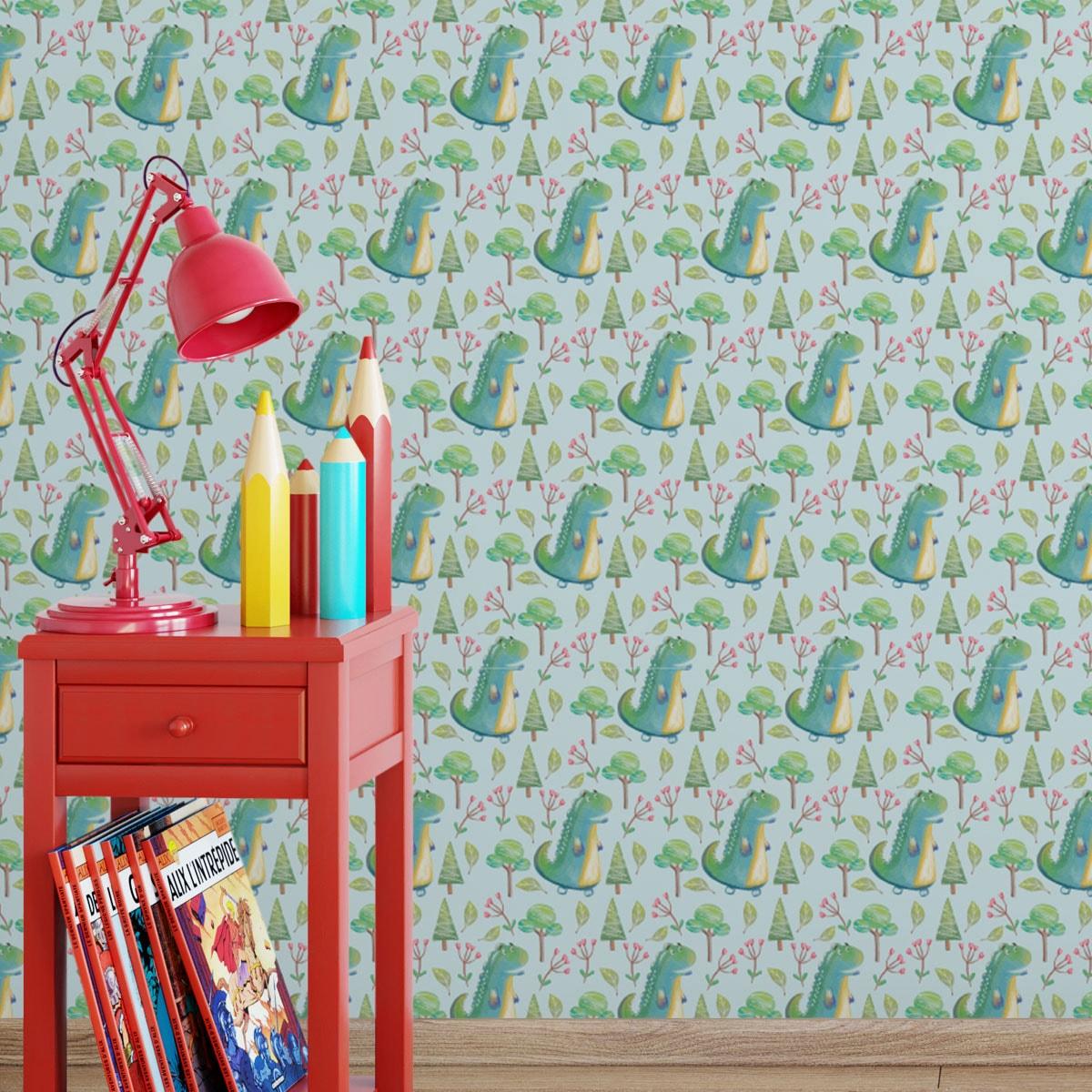 Full Size of Kinderzimmer Tapete Mit Kleinen Drachen Im Zauberwald Gmm Berlincom Tapeten Für Küche Wohnzimmer Fototapete Sofa Fenster Die Regal Fototapeten Schlafzimmer Wohnzimmer Kinderzimmer Tapete