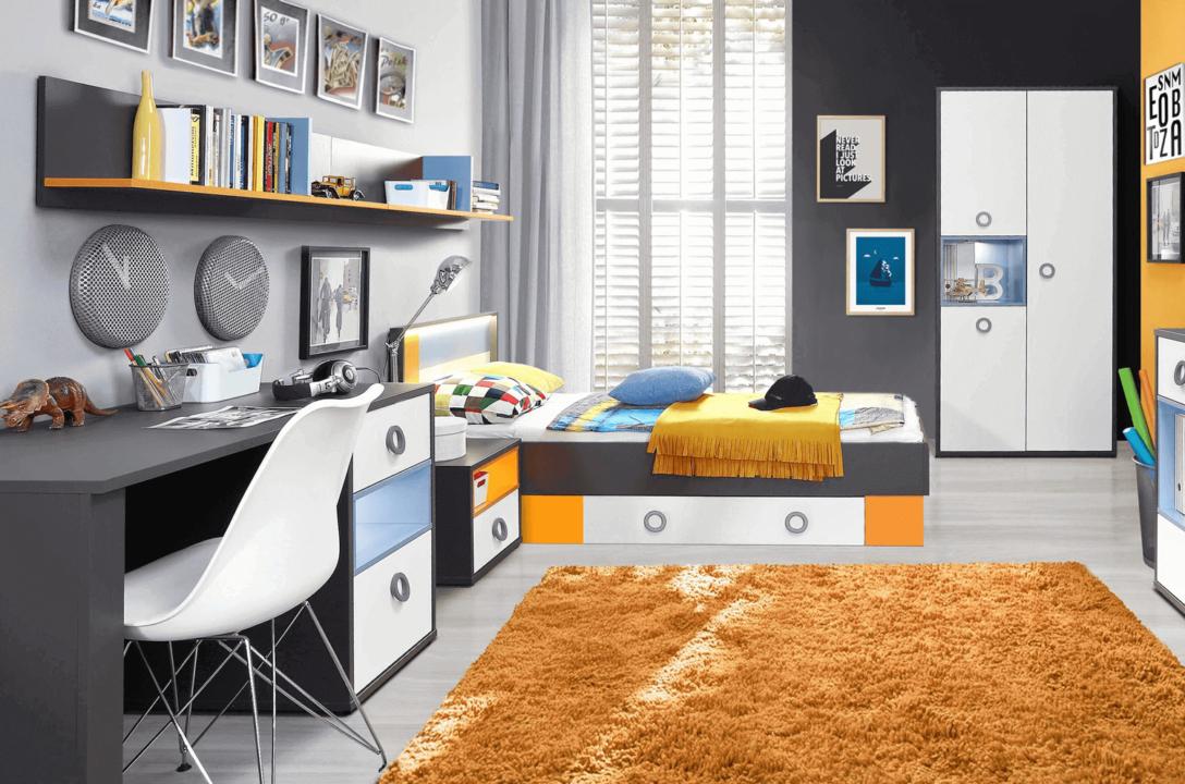 Large Size of Komplett Kinderzimmer Jugendzimmer Set 5 Teilig Grau Wei Orange Regal Komplettküche Komplette Schlafzimmer Massivholz Guenstig Regale Komplettangebote Kinderzimmer Komplett Kinderzimmer