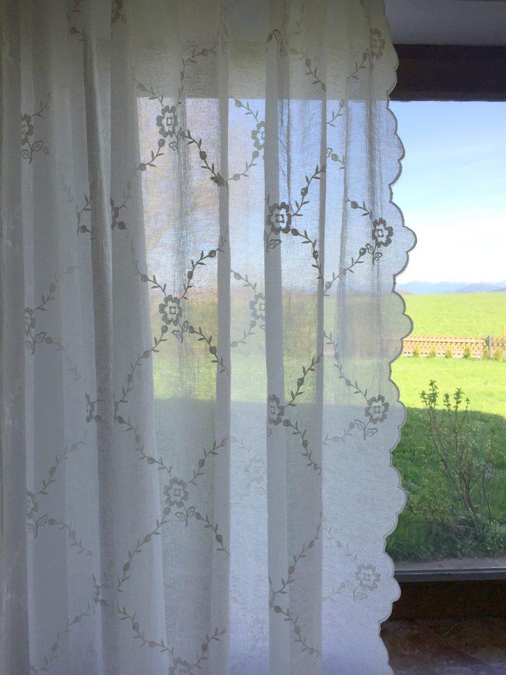 Medium Size of Gardinen Schal Chiara Bestickt Offwhite 200x250 Cm Shabby Vintage Bad Landhausstil Wohnzimmer Bett Küche Betten Sofa Schlafzimmer Regal Esstisch Für Wohnzimmer Gardinen Landhausstil